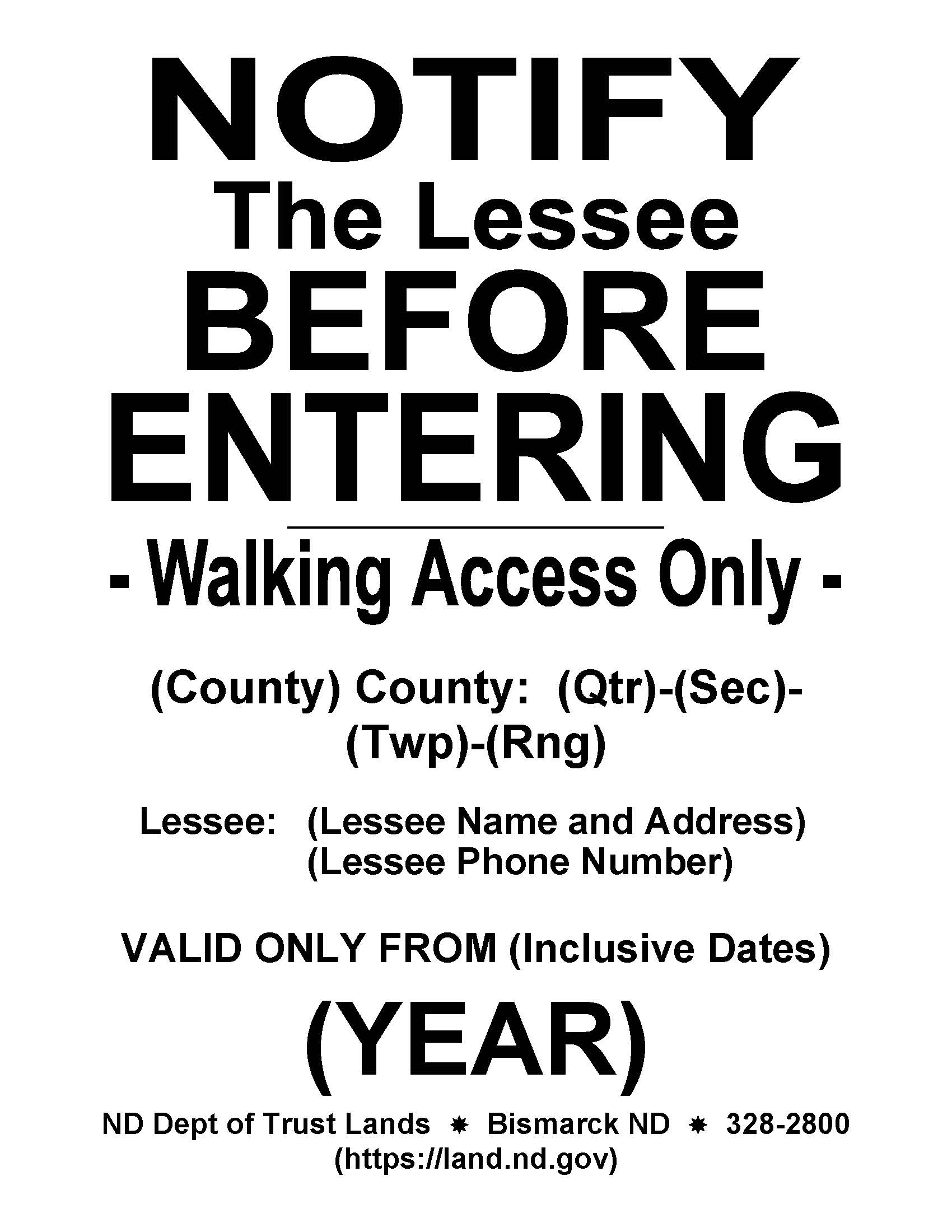 Notify Lessee Sign